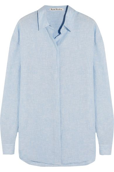 Sky-blue slub cotton Concealed button fastenings through front 100% linen Machine wash or dry clean
