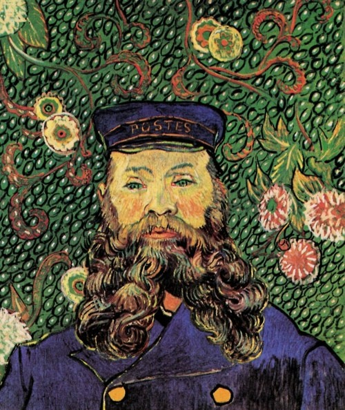 """""""The Postman Roulin"""" by Vincent van Gogh This is his last portrait of Joseph Roulin, possibly as late as April 1889 when Roulin was visiting Arles from his new job in Marseille."""