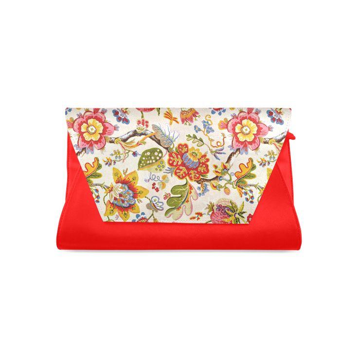 Jacobean Embroidery Fine Art Floral Clutch Bag (Model 1630)