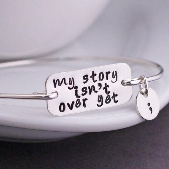 My Story Isn't Over Yet Semicolon Bangle Bracelet