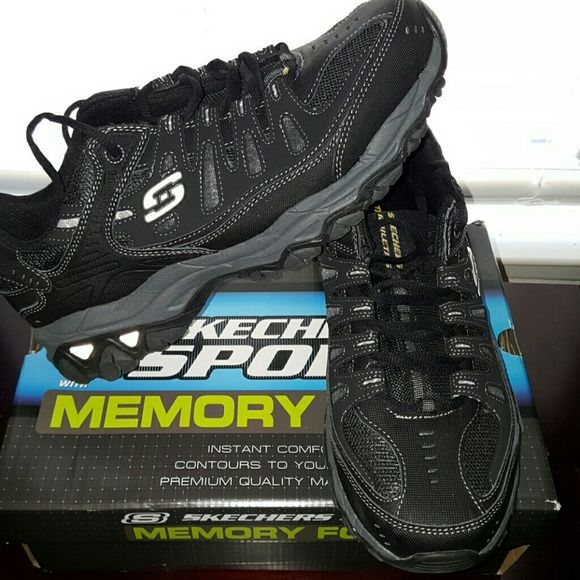 Skechers for men Black memory foam skechers for men. Only worn once by teenage son before realizing he didn't like the style. These are a great shoe! Will include box. His loss someone else's gain. Skechers Shoes Sneakers