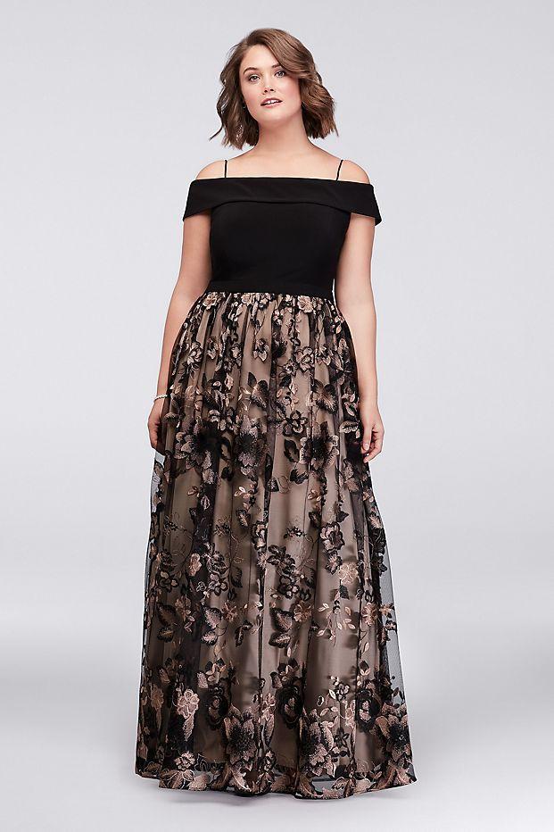 b6e049d83d5 Cold Shoulder Plus Size Ball Gown with Floral Lace
