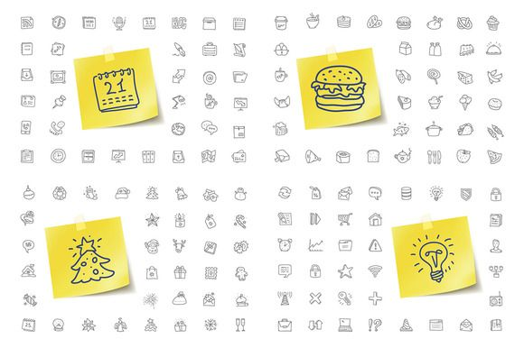 144 Doodle Icons 25% Off by vladut'shop on @creativemarket