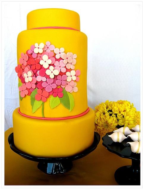 modern yellow wedding cake