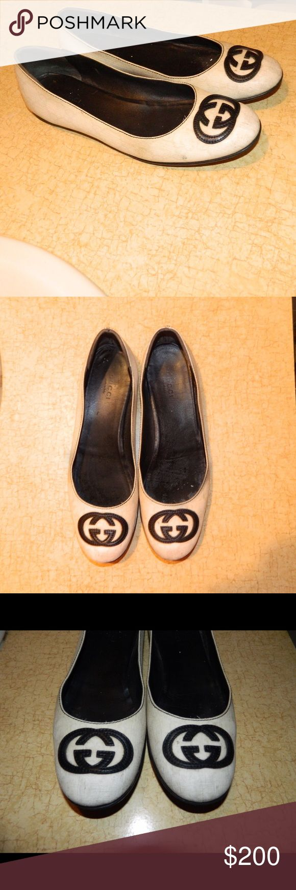 Limited GUCCI Flats White GUCCI flats, limited edition. The white version of this model is rare. The shoes are in great shape. On the soles the marks are because of water because I just washed them lol. Everything as you see in the picture. PRICE IS FIRM, I'm not taking offers on this one. They are beautiful and this is pretty much a rare chance to get white GUCCI ballerinas that go with any outfit there possible. Xoxo Gucci Shoes Flats & Loafers