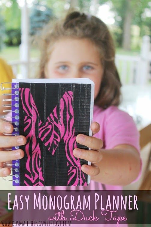 Easy Monogram Planner with Duck Tape--with a trick for transferring cut images from Duck Tape!!!