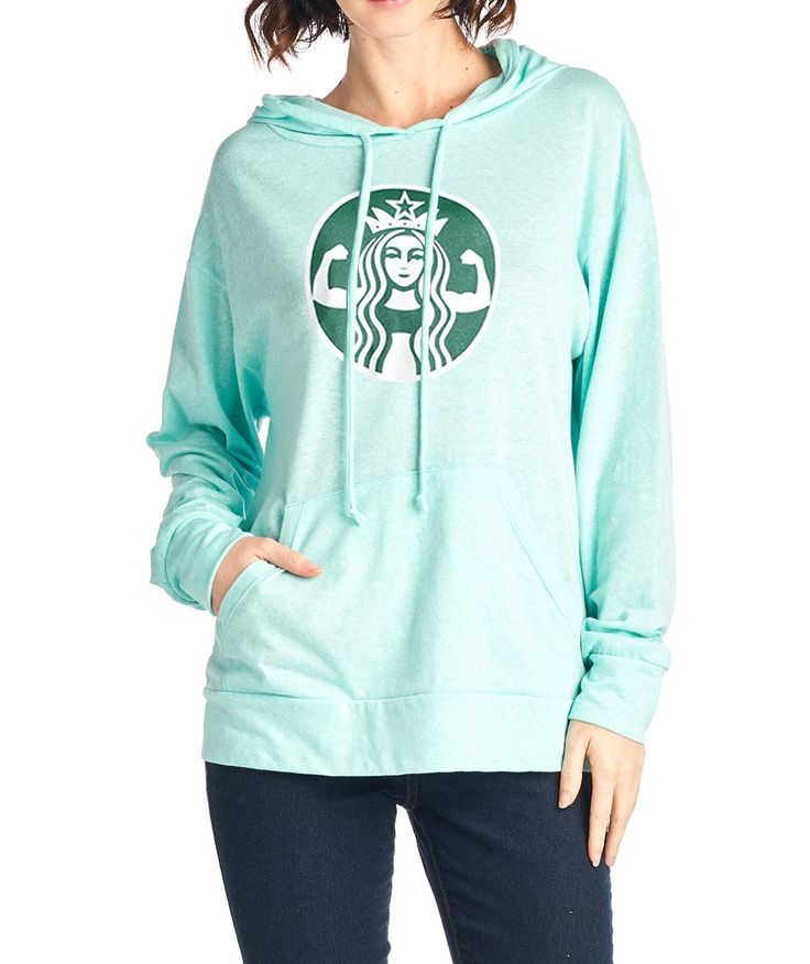 Tough Cookie's Women's Triblend Starbucks Parody Muscle Girl Print Hoodie (Small, Mint)