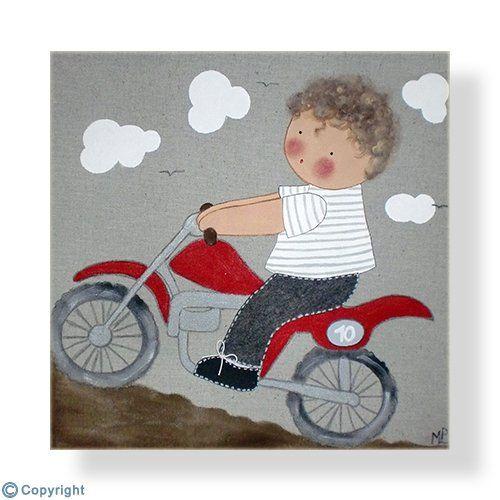 Cuadro infantil personalizado: Niño haciendo trial (ref. 12031-01)