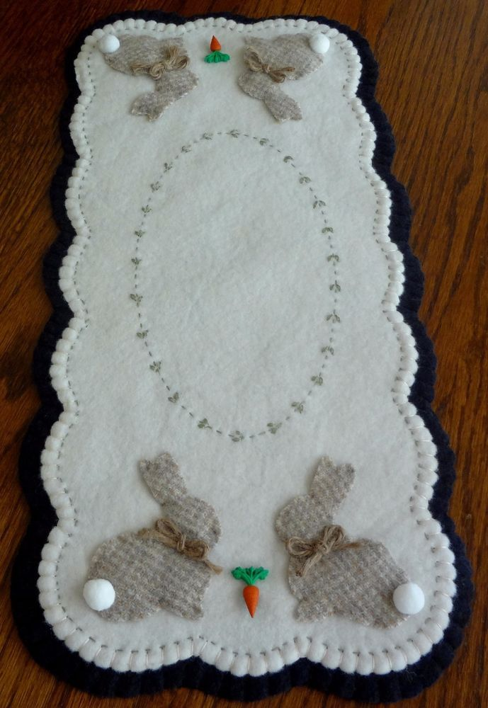 """""""Wool Primitive Bunnies & Carrots Runner"""" ~ Penny Rug ~ Candle Mat ~ Wool"""