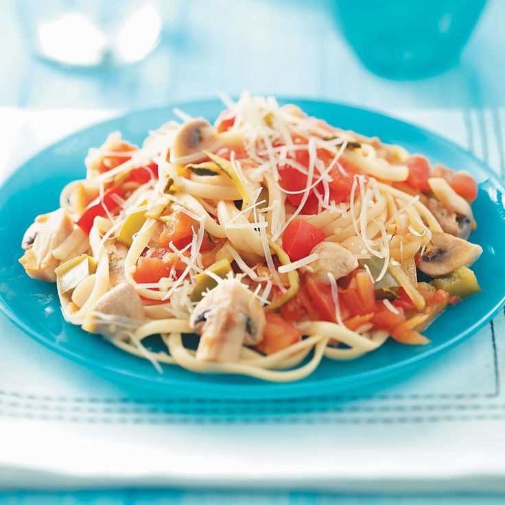 Mushroom Primavera Pasta Sauce Recipe -This meatless meal has plenty of mushrooms and vegetables in a rich tomato sauce. Serve over whole wheat pasta for an added nutritional punch. —Cindy Adams, Tracy, California