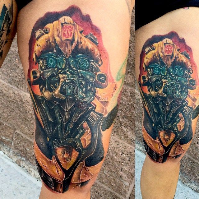 Realistic Thigh Bumblebee Transformers tattoo