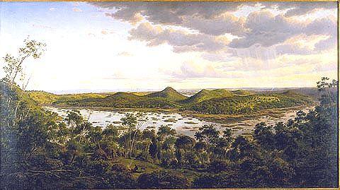 Vue de Tower Hill de Eugene Von Guerard (1811-1901, Austria)