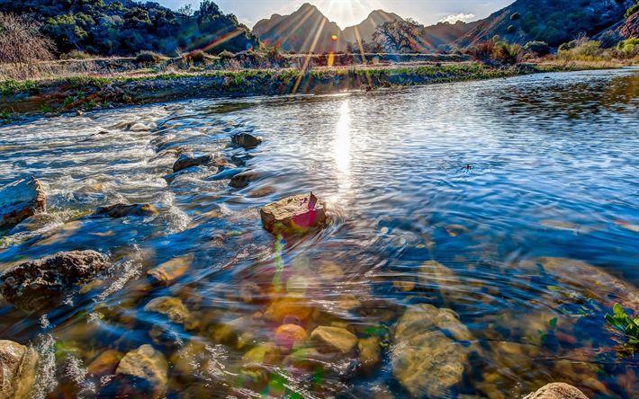 Download imagens rio, manhã, pedras, água, montanhas, costa, Malibu, EUA