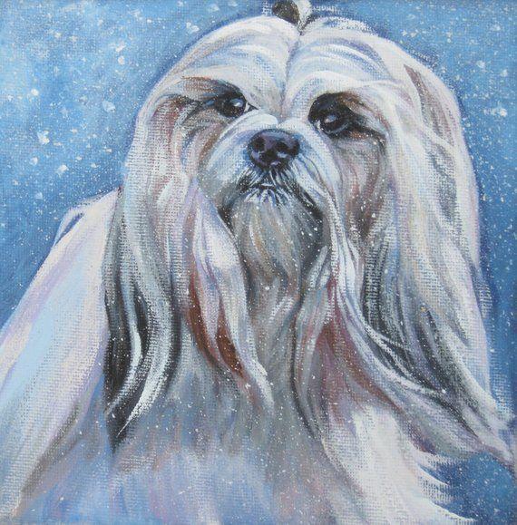 HAVANESE dog art portrait canvas PRINT of LAShepard painting 8x8