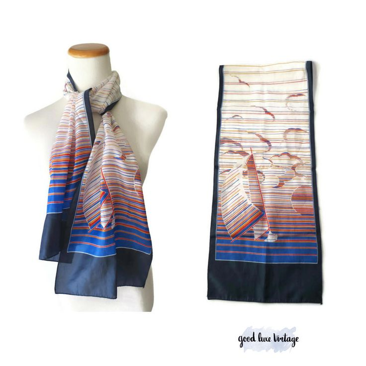 Sailboat Scarf 70s Nautical Spring Scarf Lightweight Silky 1970s Seagull Ocean Sea Hair Wrap Purse Accessory Women's Polyester Sail Boat by GoodLuxeVintage on Etsy