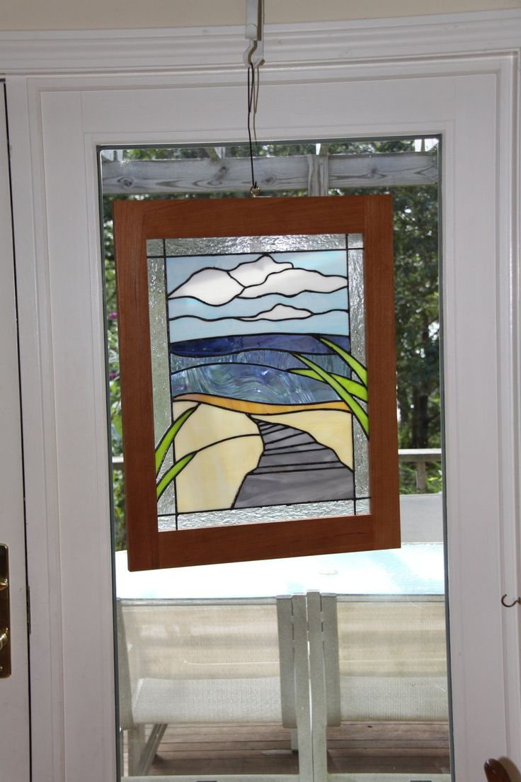 "Stained Glass Panel ""Beach Walk Cape Cod"". $450.00, via Etsy."