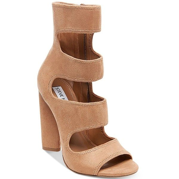 Steve Madden Women's Tawnie Block-Heel Sandals ($99) ❤ liked on Polyvore featuring shoes, sandals, camel, heeled sandals, colorblock shoes, steve madden, cut out sandals and color block shoes