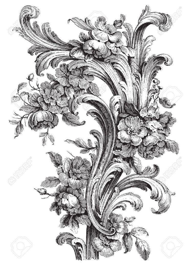 Ancienne gravure floral de rouleau avec des pivoines et des conceptions d'acanthe