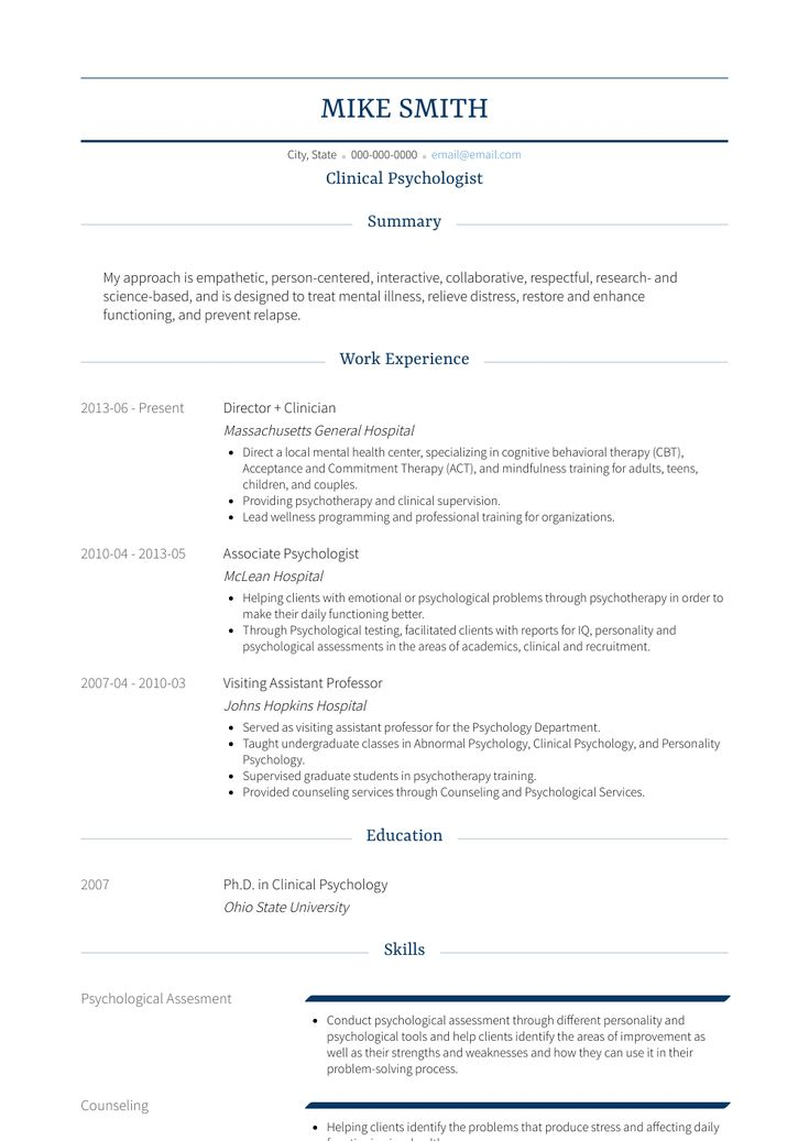 Clinical psychologist resume sample clinical