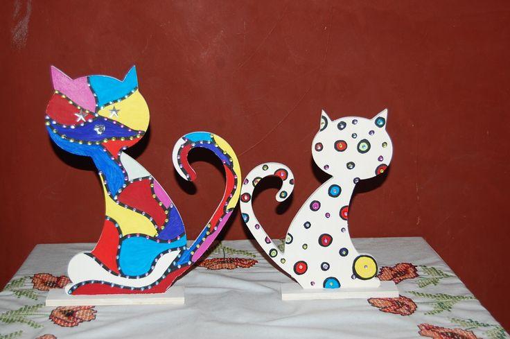 Duo Chat Psychédélique : un chat puzzle et un chat Goutte avec Strass multicolore : Accessoires de maison par smithycreations