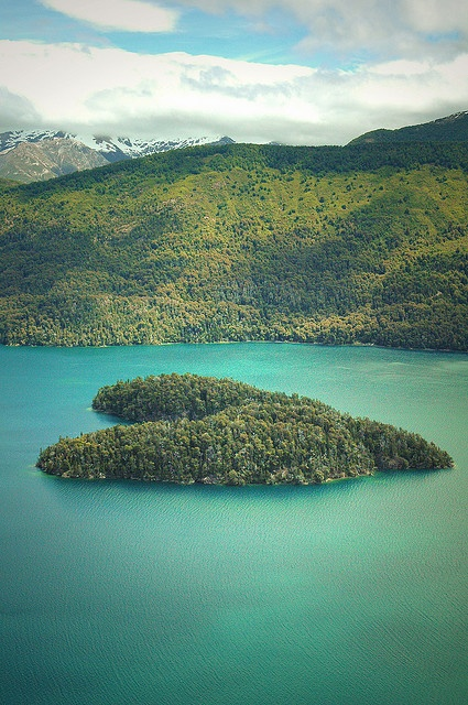 Heart shaped island in the Argentinian Patagonia