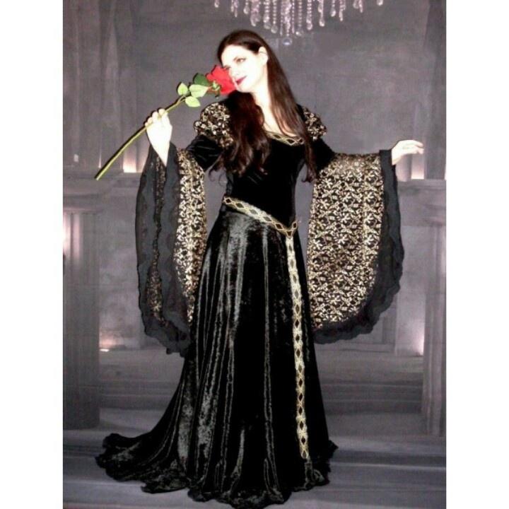 Fresh Black and Gold Flower Printed Fantasy Gothic Wedding Dress
