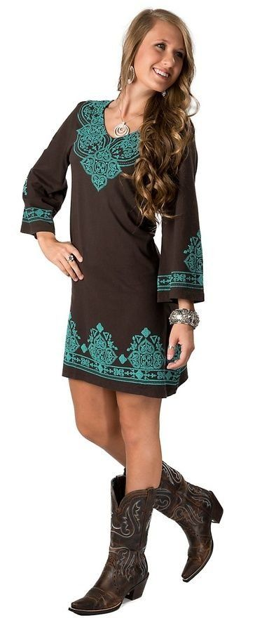 Turquoise & brown cowgirl dress