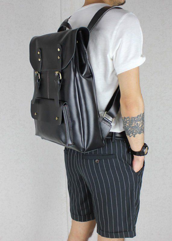 Handmade Leather Backpack / Leather Satchel / Travel Bag / 17″ Laptop 17″ MacBook Bag (B01-2)
