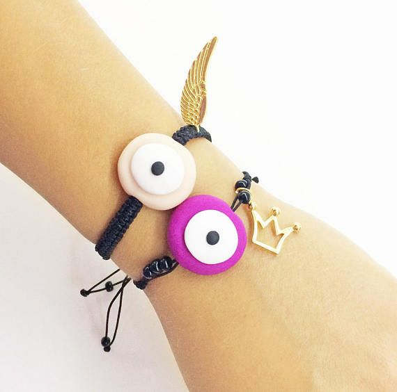 evil eye bracelet gold angel wing gold crown charm evil eye