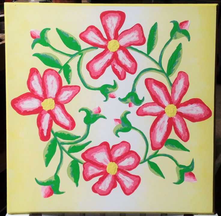 Wild Rose Wreath Barn Quilt was inspired by a Pennsylvania Dutch Applique Quilt design.  MDO plywood board has routered edges and is painted in the Impressionistic Style with exterior paint.