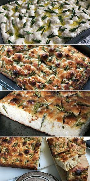 Luftigt og lækkert foccacia-brød med en sprød skorpe og en skøn smag af rosmarin og havsalt.