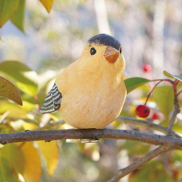 小鳥クリップガーデンオーナメント -黄- (置物 オーナメント 庭 かわいい 鳥 野鳥 動物 オブジェ ...