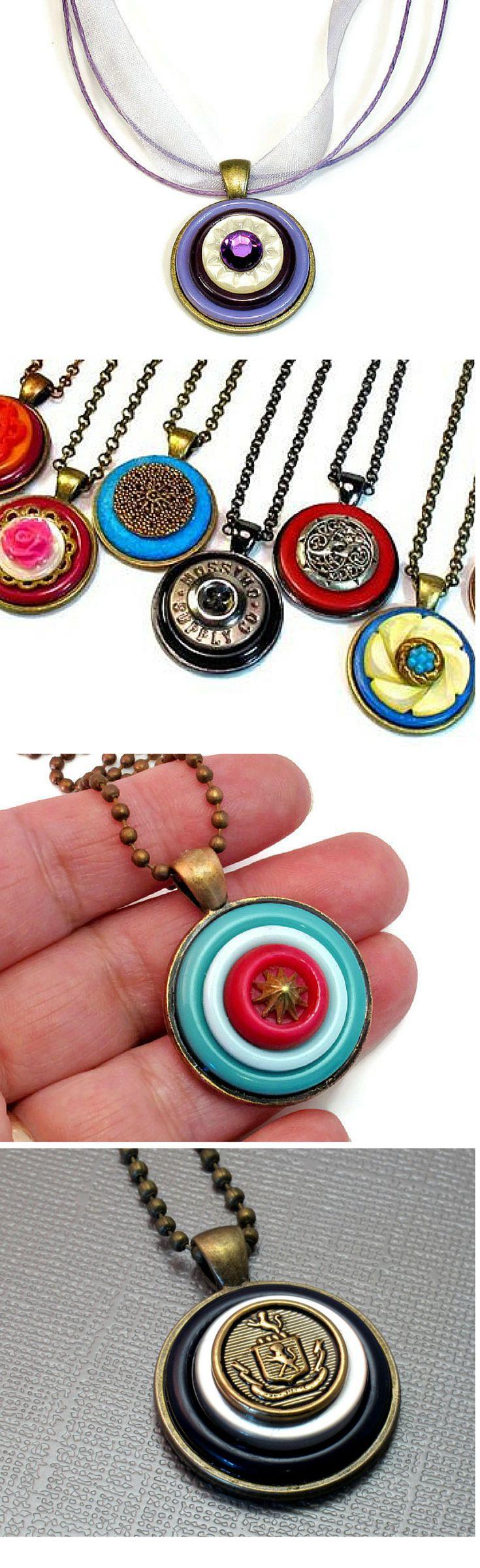 One-of-a-kind button pendants! #upcycled #jewelry on Etsy, CLICK HERE TO SEE-> https://www.etsy.com/shop/BluKatDesign?section_id=17077952&ref=shopsection_leftnav_5