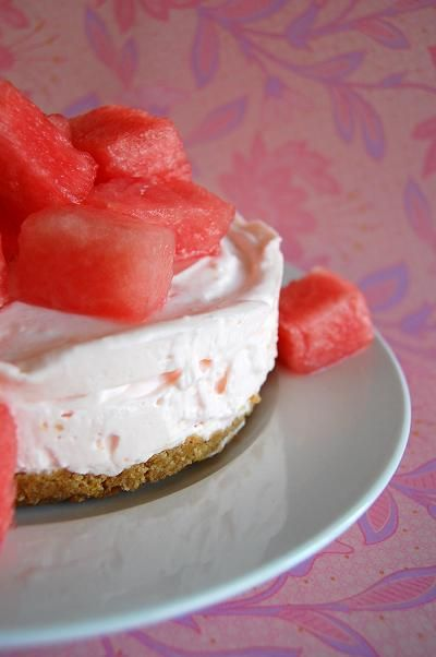 Watermelon Cheesecake with Watermelon Fresca    eating a slice right now and it's wondrous