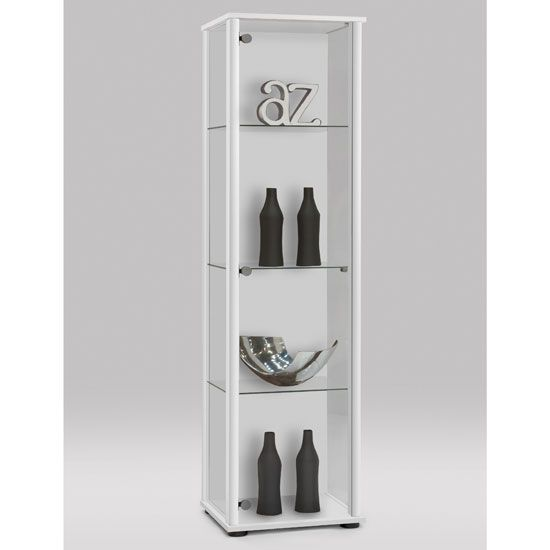 Bora1 Modern Glass Display Cabinet In White With Shelves