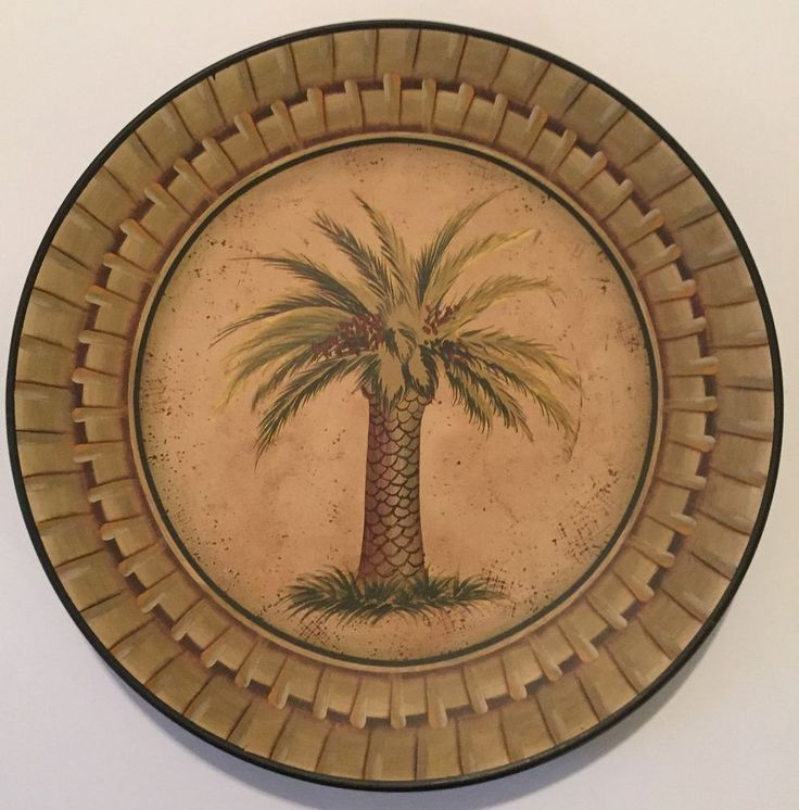 Palm Tree Decorative Plate Kirkland's Home Green Leaves Red Fruit ...