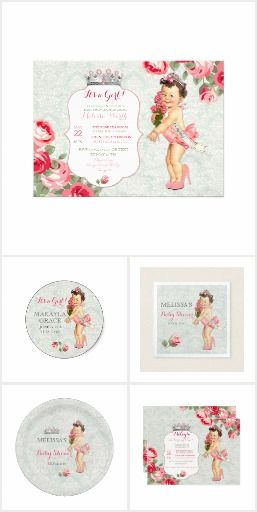 Vintage Beauty Pageant Princess Baby Shower Invitation Sets