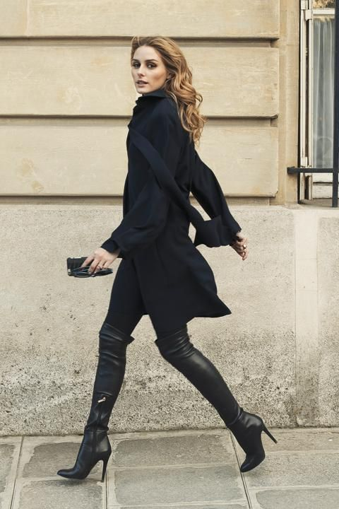 Olivia Palermo wearing Jimmy Choo Toni Leather Over-the-Knee Boots and Dior Sideral 1 Metallic Rim Acetate Cat Eye Sunglasses in Teal