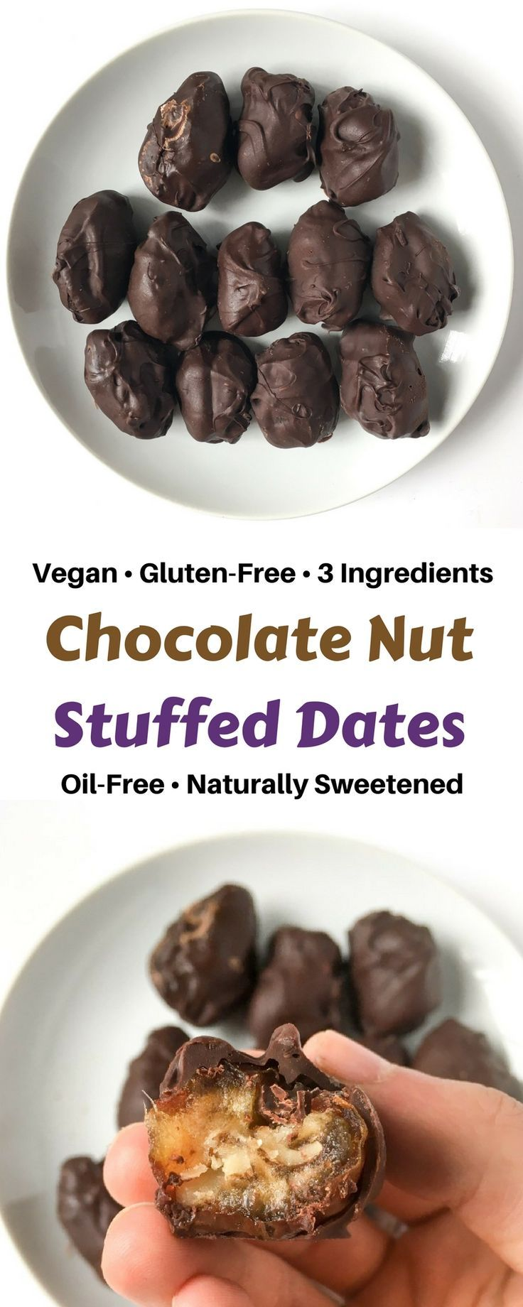Chocolate nut stuffed dates made with 3 ingredients, in 30 minutes or less of prep time and are vegan, oil-free, refined sugar-free and a nutritious treat! Chocolate shell on the outside and gooey date with a crunchy nut on the inside!