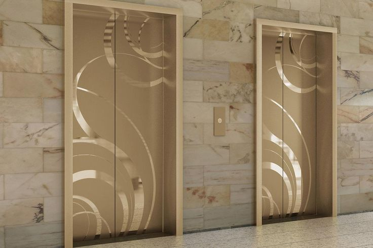 Fused White Gold Elevator Door skin in Mirror finish with ECO205H Eco-Etch