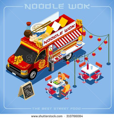 """aurielaki's """"Street Food Truck 3D Vector Images"""" set featuring high-quality, royalty-free images available for purchase on Shutterstock."""