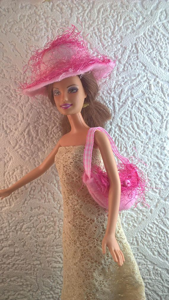 Pink felt hat and purse for Barbie. OOAK hand made hat and bag