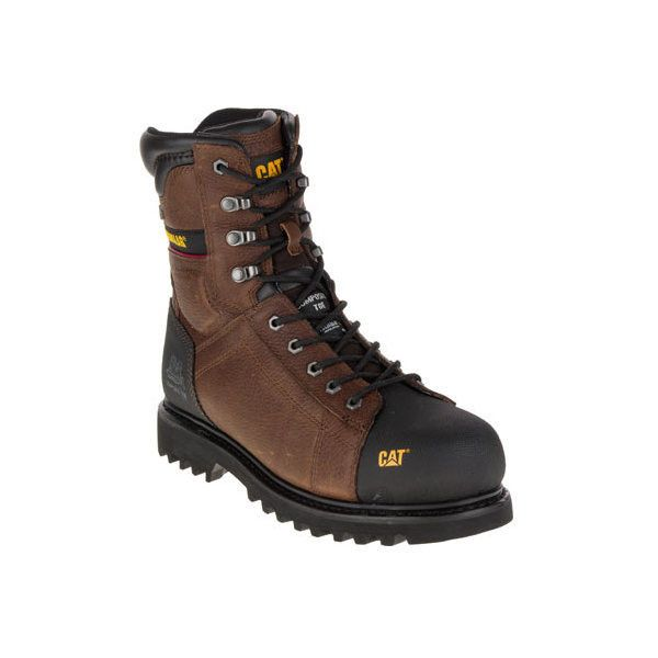 """Men's Caterpillar Control 8"""" Waterproof Composite Toe Work Boot ($170) ❤ liked on Polyvore featuring men's fashion, men's shoes, men's boots, men's work boots, casual, work boots, mens waterproof boots, men's composite toe work boots, mens lightweight snow boots and mens steel toe boots"""