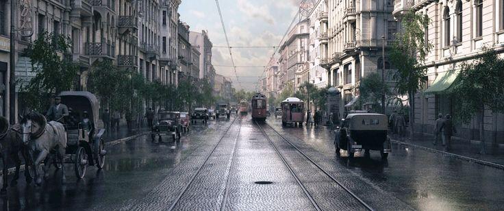 "Marszalkowska as seen in the 3D reconstruction ""Warszawa 1935"""