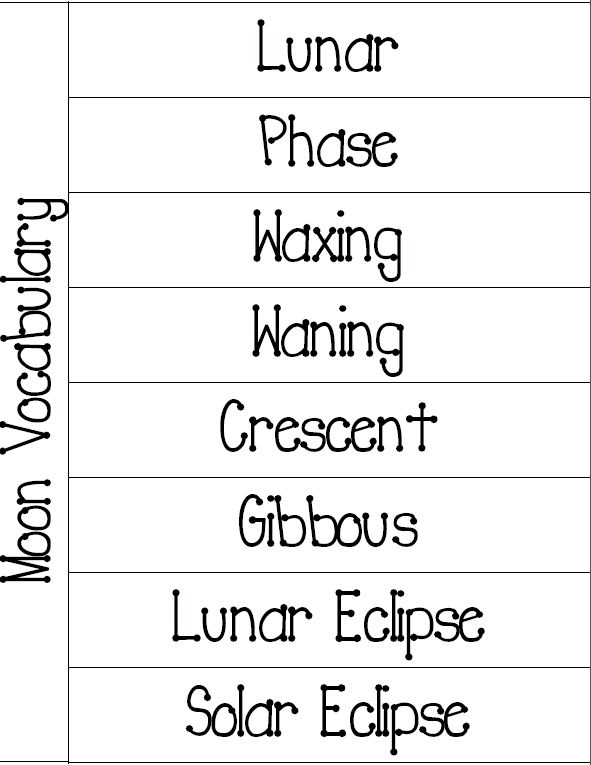 Vocabulary foldable, Moon phases and Vocabulary on Pinterest