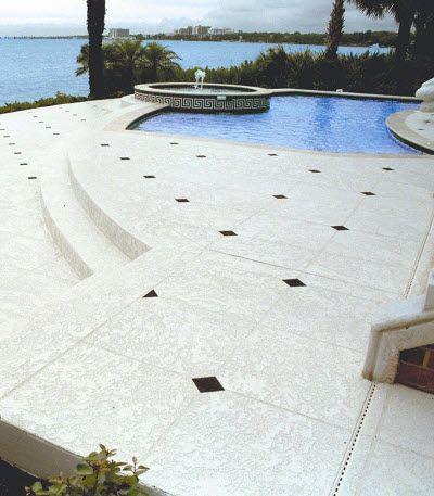 Give Your Backyard That Warm And Cozy Glow By Resurfacing Your Pool Deck!  Call (. Beton WiederauftragenBetonbeckenZementPool TerrasseDekorativer Beton