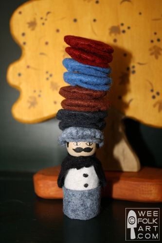 """Adorable little man based on the children's book """"Caps for Sale""""! From the folks at Wee Folk Art. What wonderful ideas they have!"""