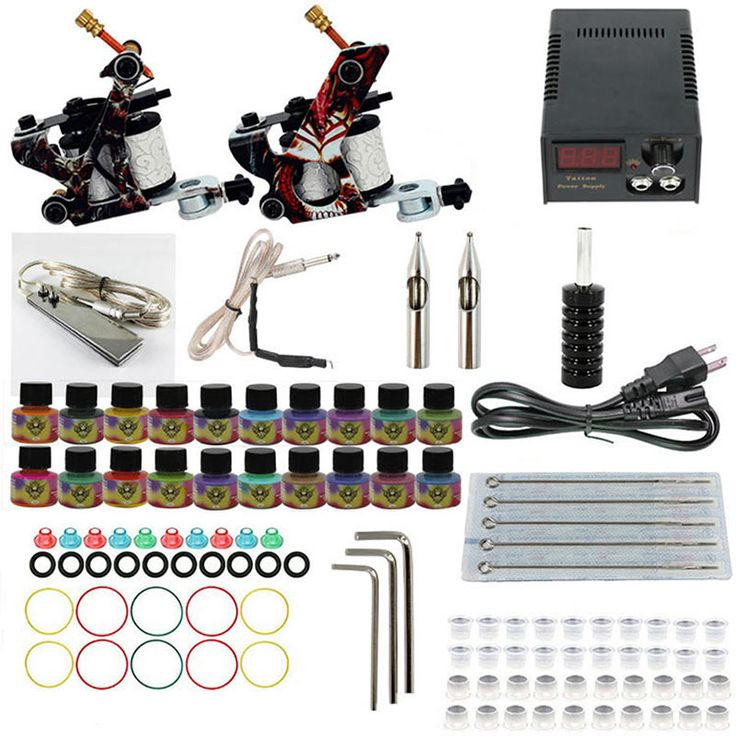 Complete Tattoo Machine Kit Set Coils Black Pigment Sets Power Tattoo Beginner Grips Kits Permanent Tools @ME88 #Affiliate