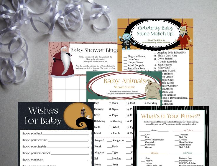 Nightmare Before Christmas-Baby Shower Games Set 01-DIY-Printable Games-Bingo-Celebrity Baby Name-Wishes-Baby Animals-What's In Your Purse by PaperWillowDesigns on Etsy https://www.etsy.com/listing/249231538/nightmare-before-christmas-baby-shower
