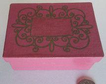 Scrolls oro scatola, scatola di gioielli rosa, rosa gioielli scatola, scatola regalo rosa, stoccaggio dei gioielli, scatola di plastica rivestito Papermache